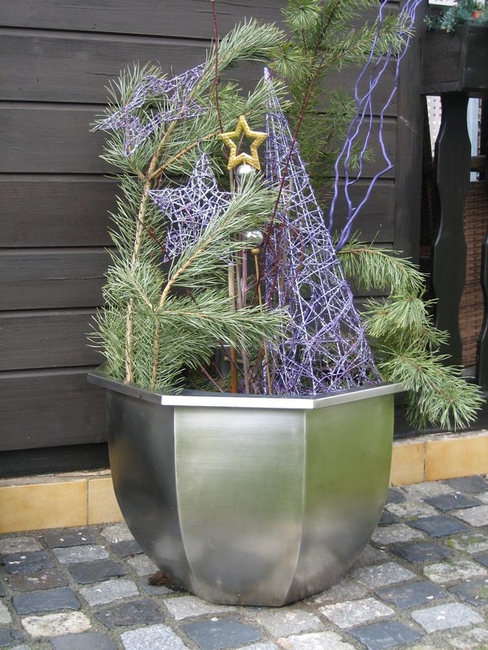 Dekorationen Edelstahl Blumentopf Groß